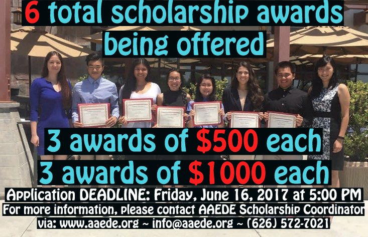 Scholarship winners from 2016 shown with AAEDE Program Administrator, Yvonne Hsu, and Administrative Assistant, Ann Tsuchiya.