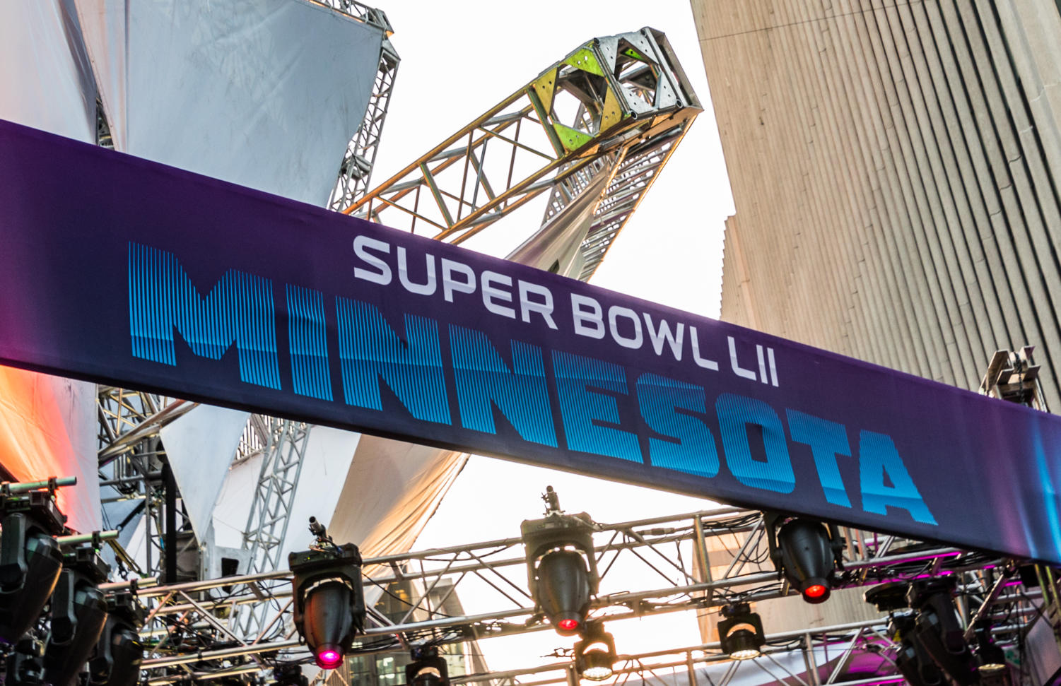 A banner for the 2018 Super Bowl 52 (Super Bowl LII) on Nicollet Mall in downtown Minneapolis, Minnesota.